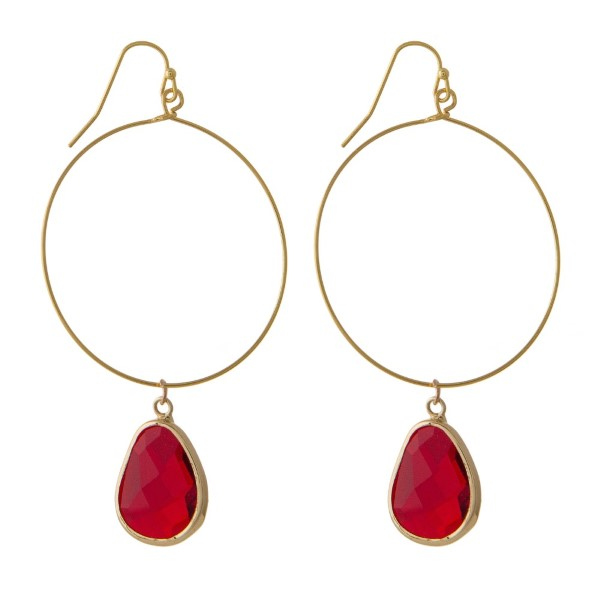 Wholesale gold hoop earring natural stone charm