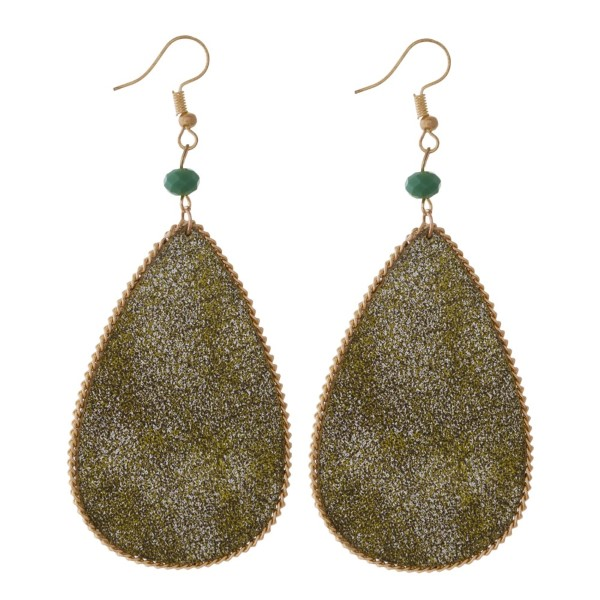 "Gold tone fishhook earring with metallic faux leather teardrop shape. Approximately 2"" in length."
