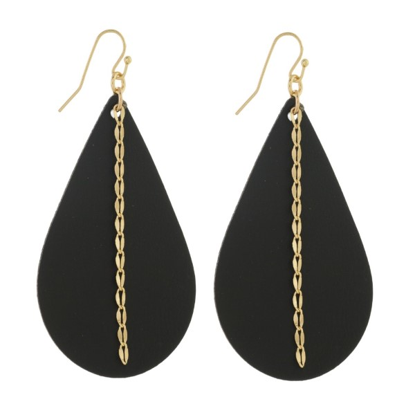 "Long leather teardrop earring with chain detail. Approximately 2.5"" in length."