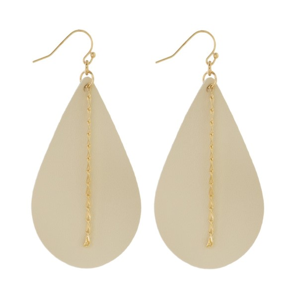 """Long faux leather teardrop earring with chain detail. Approximately 2.5"""" in length."""