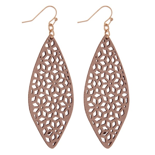 """Long leather cutout earring. Approximately 2.5"""" in length."""