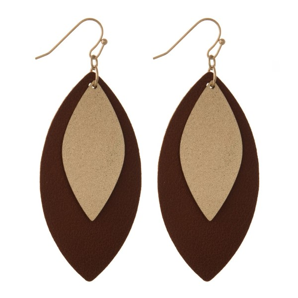 "Fishhook earring with oval leather shape. Approximately 2"" in length."