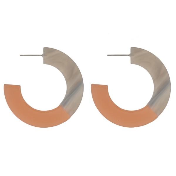 "Stud acetate hoop earring. Approximately 1.5"" in length."