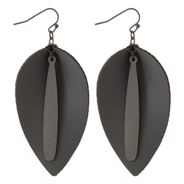 "Fishhook earring with faux leather earring with metal detail. Approximately 2"" in length."