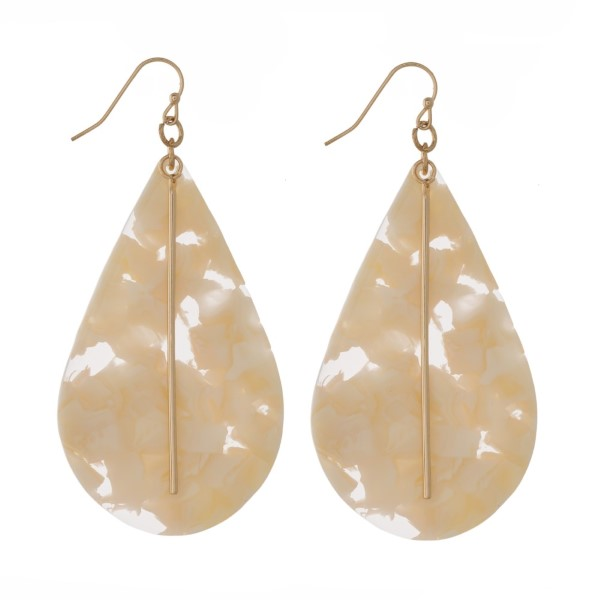 "Gold tone fishhook earring with acetate teardrop shape. Approximately 2"" in length."