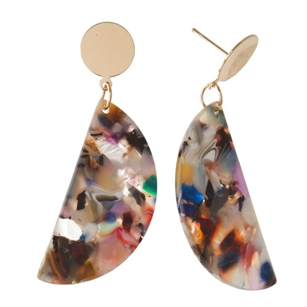 """Gold tone stud earring with acetate shape. Approximately 2"""" in length."""