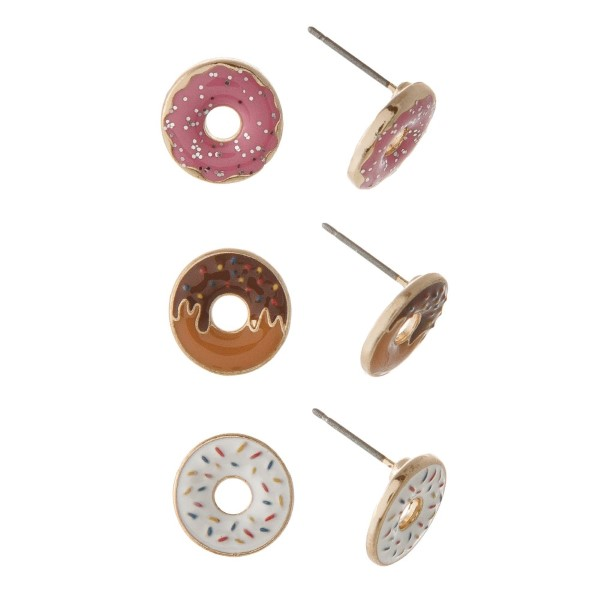 """Three pair donut earring set. Approximately 1/4"""" in size"""
