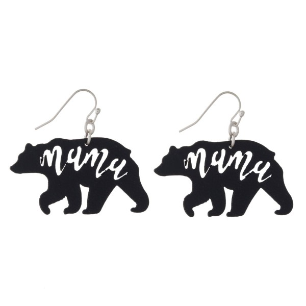 "Fishhook earring with mama bear design. Approximately 1.5"" in length."