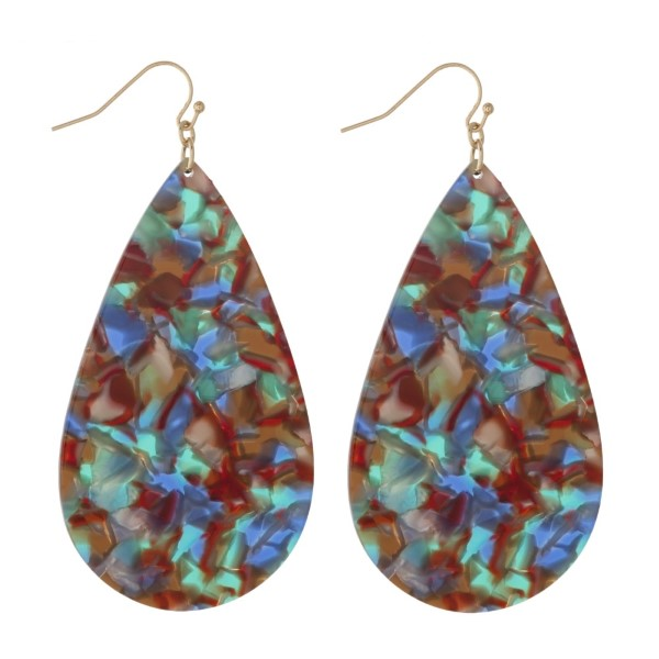 """Gold tone fishhook earring with acetate teardrop shape. Approximately 2.5"""" in length."""