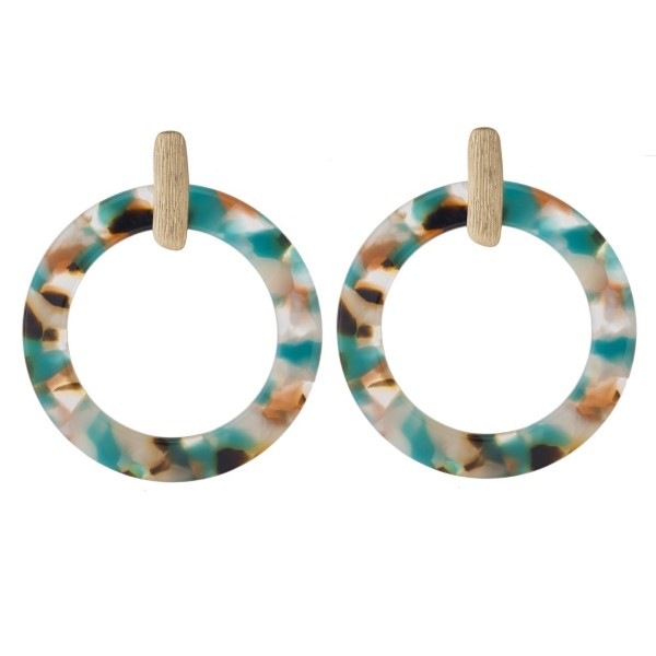 """Gold tone post earring with acetate circle shape. Approximately 1.5"""" in length."""