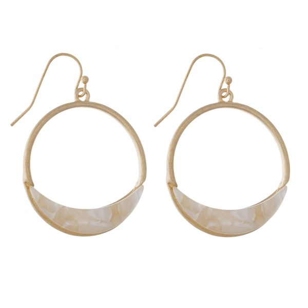 """Gold tone fishhook earring with acetate accent. Approximately 1.5"""" in length."""