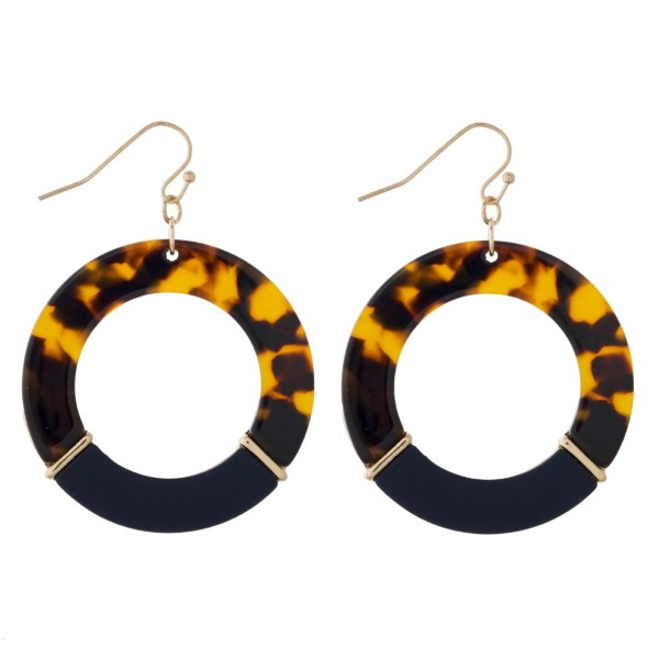"""Gold tone fishhook acetate earrings. Approximately 1.5"""" in length."""