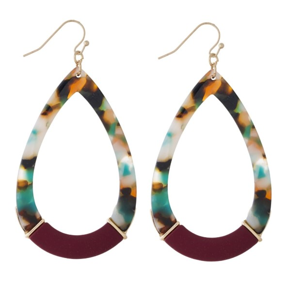 """Gold tone fishhook earring with acetate teardrop shape. Approximately 2"""" in length."""