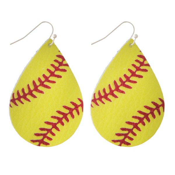 """Faux leather fishhook earring with a softball printed teardrop shape. Approximately 2"""" in length."""