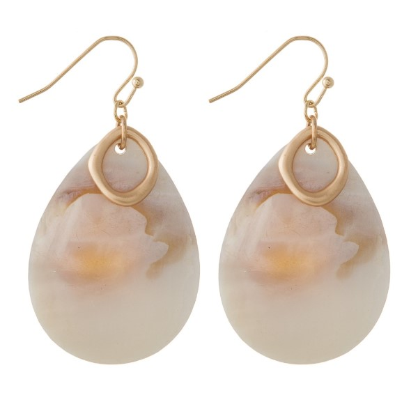"Fishhook earring with natural shell teardrop shape. Approximately 1.5"" in length."