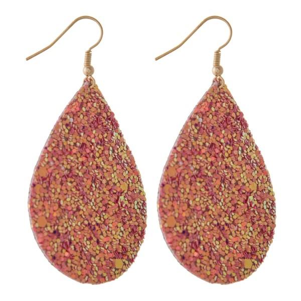 """Fishhook earring with a glitter teardrop shape. Approximately 2"""" in length."""