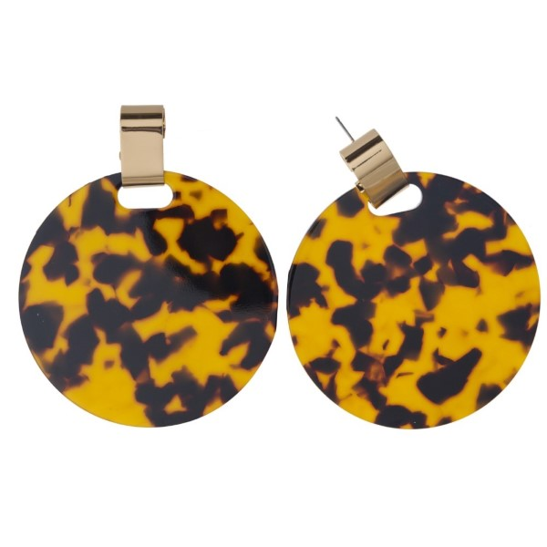 """Gold tone stud earring with acetate circle shape. Approximately 3"""" in length."""