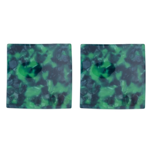 """Stud earring with acetate square shape. Approximately 2"""" in length."""