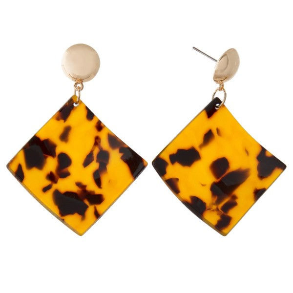 """Gold tone post earring with acetate square design. Approximately 2"""" in length."""