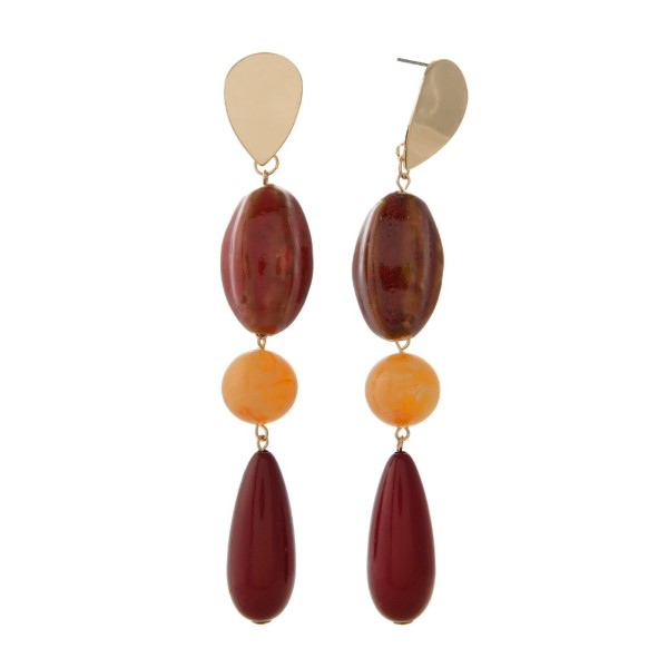 """Gold tone stud earring with acrylic beads. Approximately 3.5"""" in length."""