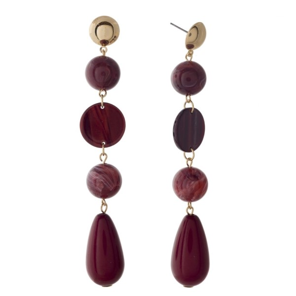 """Gold tone stud earring with acetate and glass beads. Approximately 3.5"""" in length."""