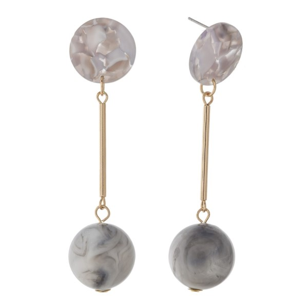 """Stud earring with acetate circle detail. Approximately 2.5"""" in length."""
