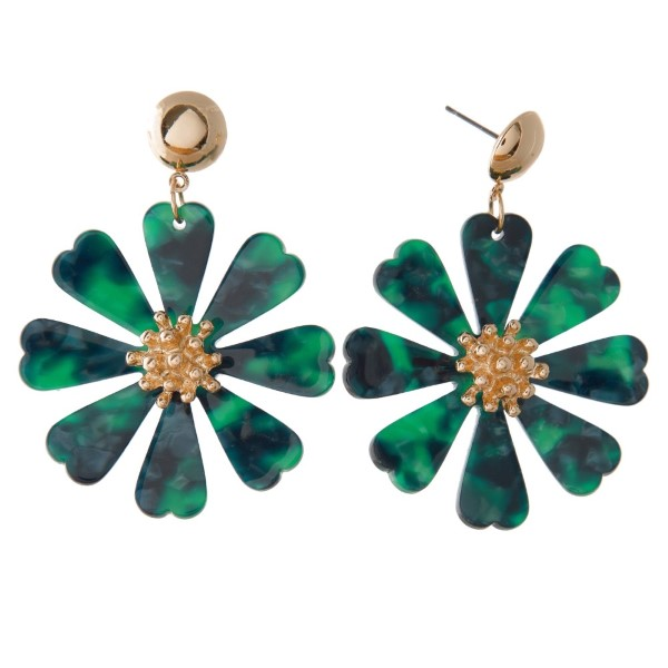 """Gold tone post earring with acetate flower design. Approximately 2"""" in length."""