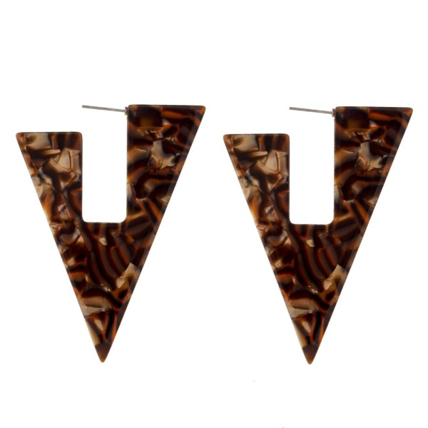 """Stud earring with geometric acetate design. Approximately 2.5"""" in length."""