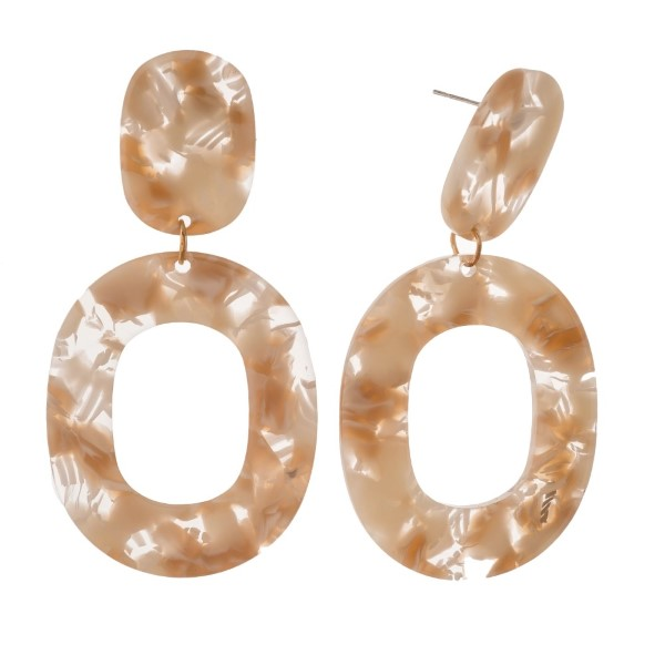"""Post earring with oval acetate shape. Approximately 2.5"""" in length."""