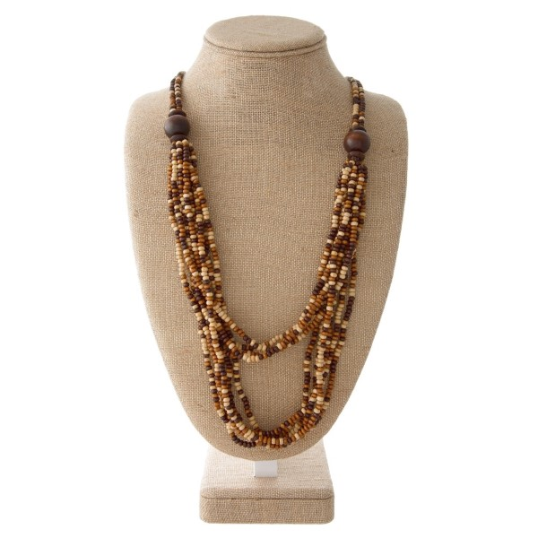 """Wooden bead necklace. Approximately 32"""" in length."""