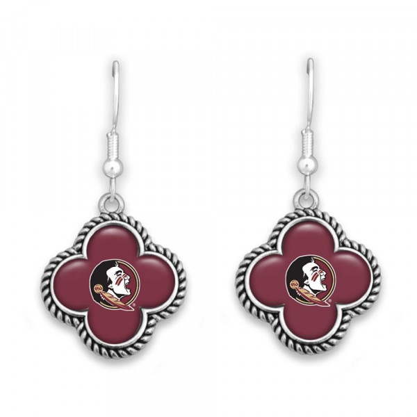 Wholesale officially licensed silver fishhook earring clover university logo