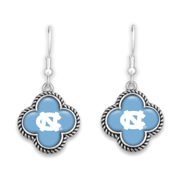 "Officially licensed, silver tone fishhook earring with clover shape and university logo. Approximately 1"" in length."