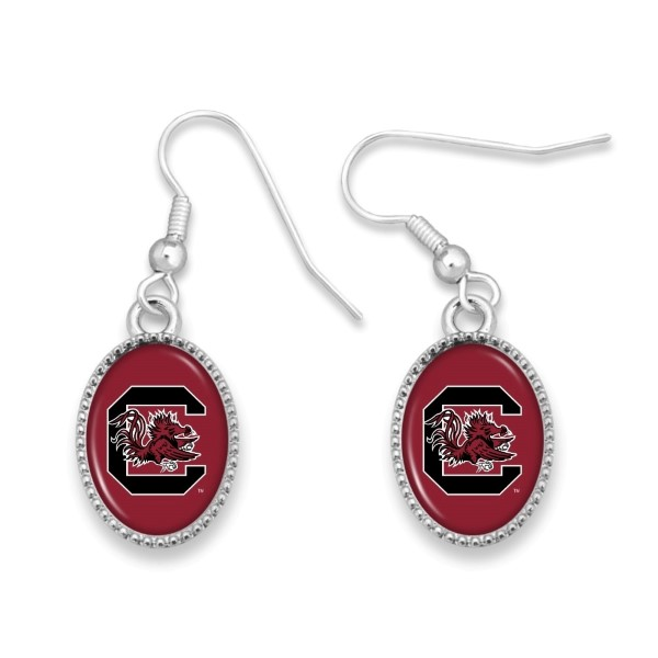 Wholesale officially licensed silver fishhook earring collegiate logo