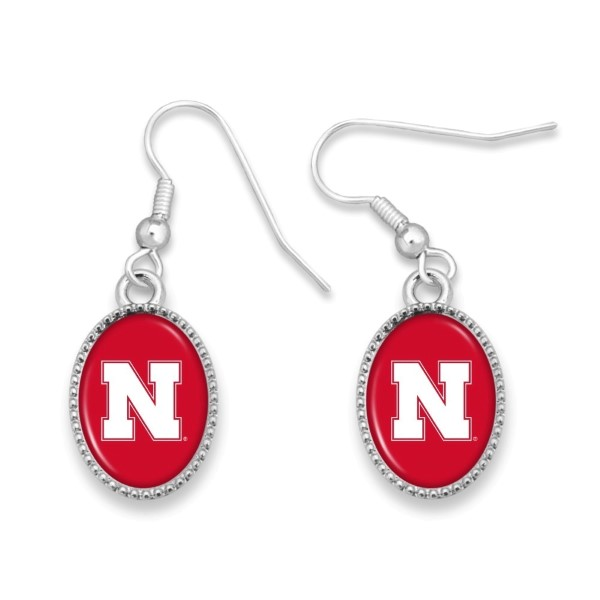"Officially licensed, silver tone fishhook earring collegiate logo. Approximately 3/4"" in length."