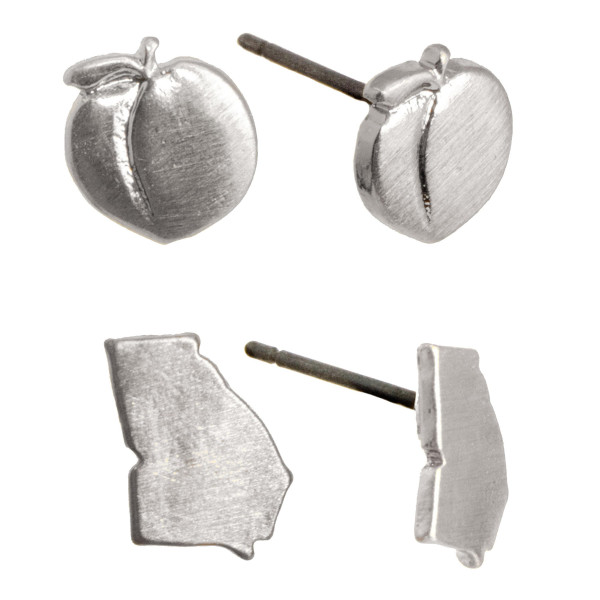"""Metal stud earring set with Georgia and Peach shape. Approximately 1/4"""" in size."""