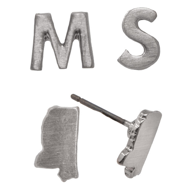 Stud earring with Mississippi shape. Approximately 10mm in size.