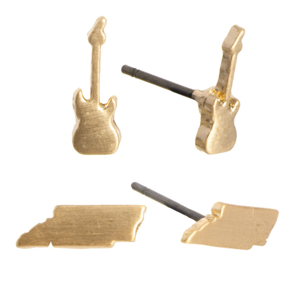 """Metal stud earring set with Tennessee and guitar shape. Approximately 1/4"""" in size."""