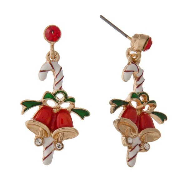 """Stud Christmas themed earring. Approximately 1"""" in length."""