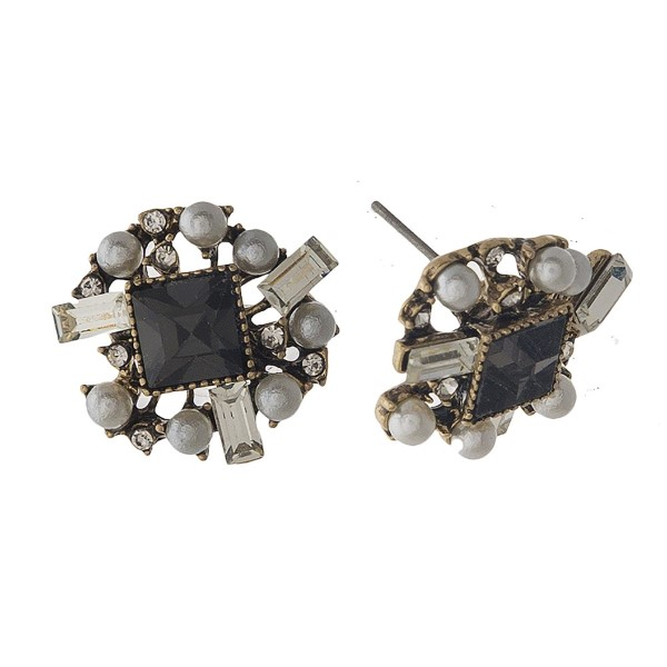 """Rhinestone and pearl stud earring. Approximately .75"""" in length."""