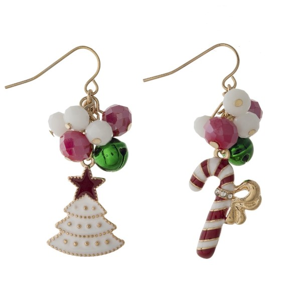 """Fishhook earring with Christmas theme charms. Approximately 1"""" in length."""