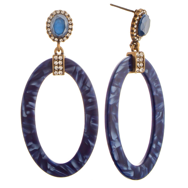 """Long mix design acetate earring with rhinestones. Approximate 2"""" in length."""