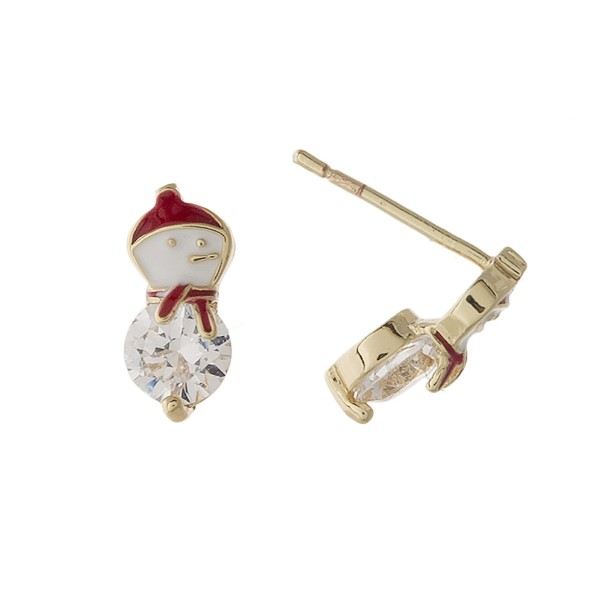 """Snowman stud earring. Approximately 1/4"""" in length."""