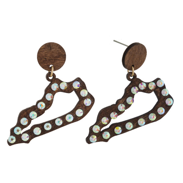 """Wooden stud earring with Kentucky shape and rhinestone detail. Approximately 2"""" in length."""