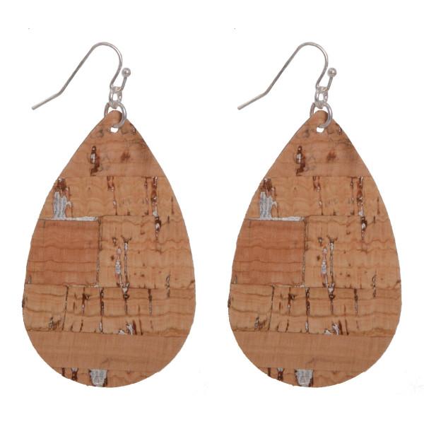 """Long teardrop cork earrings. Approximately 2"""" in length."""