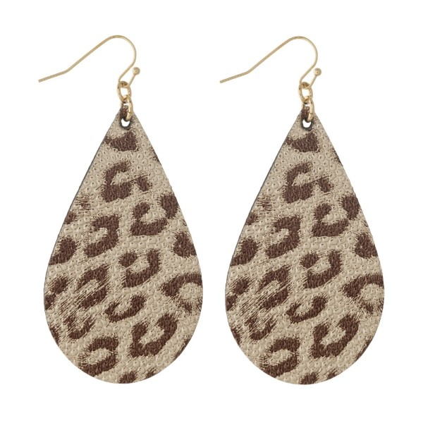 """Gold tone fishhook earring with faux leather teardrop shape. Approximately 2"""" in length."""