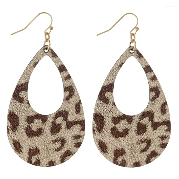 """Gold tone fishhook earring with animal print faux leather teardrop. Approximately 2"""" in length."""