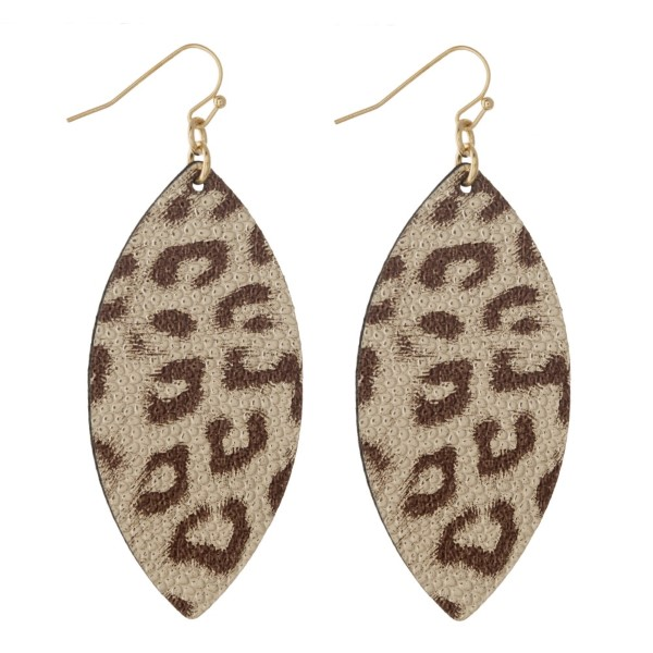 """Faux leather earring with leopard print. Approximately 2"""" in length."""