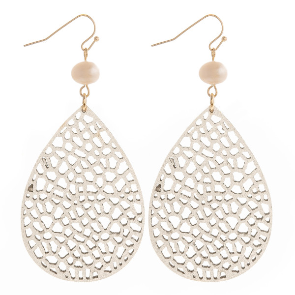 """Fishhook drop earring with pearl detail. Approximate 3"""" in length."""