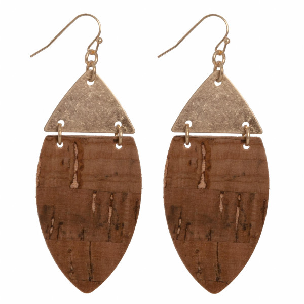 """Metal fishhook earring with cork detail. Approximately 2"""" in length."""