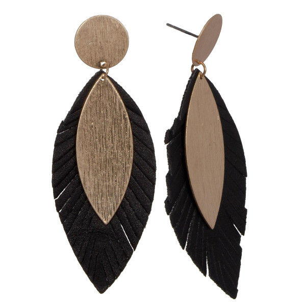 """Metal stud earring with faux leather feather detail. Approximately 2"""" in length."""